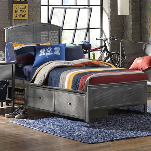 Morris Home Furnishings Urban Quarters Contemporary Full Panel Storage Bed with Rails