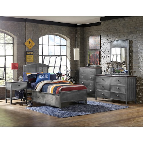 Morris Home Furnishings Urban Quarters Contemporary Five Piece Set with Full Storage Bed
