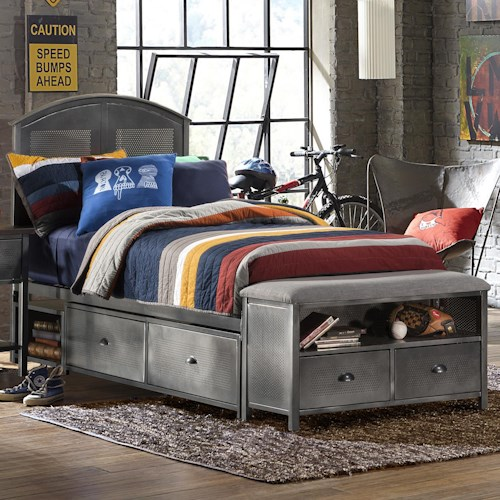 Morris Home Furnishings Urban Quarters Contemporary Full Storage Bed Set with Footboard Bench