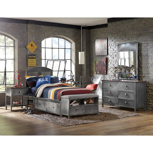 Morris Home Furnishings Urban Quarters Contemporary Four Piece Full Bed Set with Storage Bench