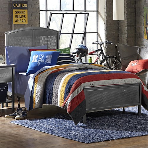 Morris Home Furnishings Urban Quarters Contemporary Twin Panel Bed Set with Rails