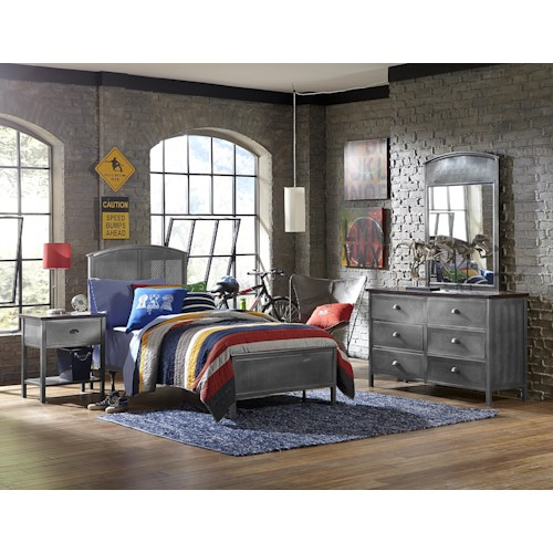 Morris Home Furnishings Urban Quarters Contemporary Four Piece Twin-Sized Panel Bed Set