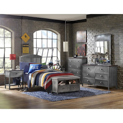 Hillsdale Urban Quarters Contemporary Five Piece Panel Twin Bed Set with Storage Bench