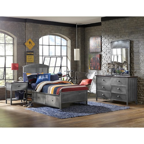 Hillsdale Urban Quarters Four Piece Set with Twin Panel Storage Bed