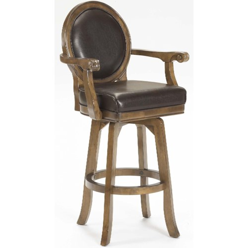 Morris Home Furnishings Warrington Rich Cherry Bar Stool with Supple Brown Leather Upholstery