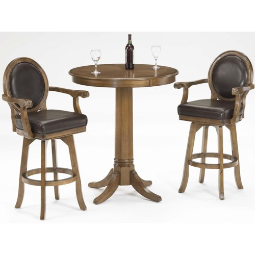 Hillsdale Warrington 3 Piece Pub Set with Brown Leather Upholstery