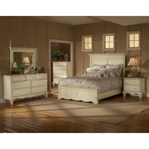 Morris Home Furnishings Wilshire Queen Panel Bedroom Group with Nightstand, Dresser, and Mirror