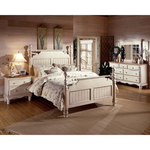 Morris Home Furnishings Wilshire King Bedroom Group with Nightstand, Dresser, and Mirror