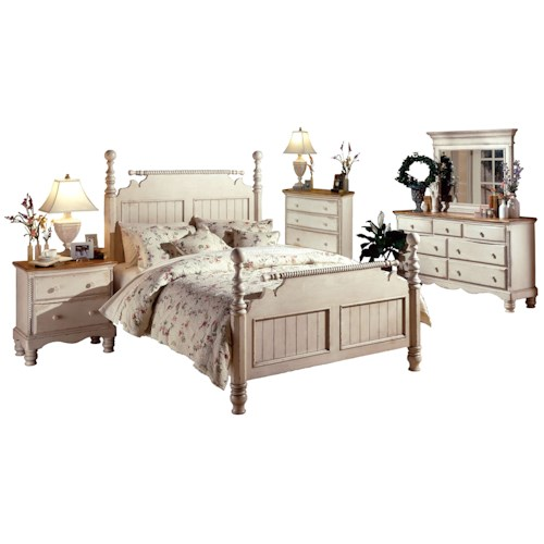 Hillsdale Wilshire King Poster Bed Group with Nightstand, Dresser, Mirror, and Chest