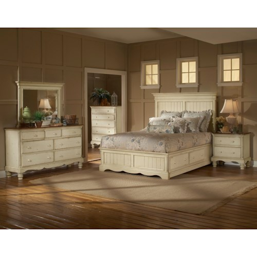 Morris Home Furnishings Wilshire Queen Storage Panel Bedroom Group with Nightstand, Dresser, and Mirror