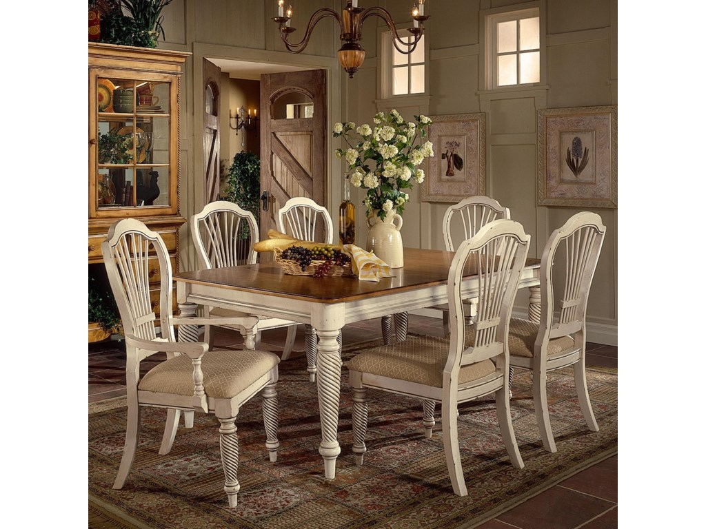 Shown with Rectangle Two-Tone Double Leaf Dining Table and Craftsman Arm Chair