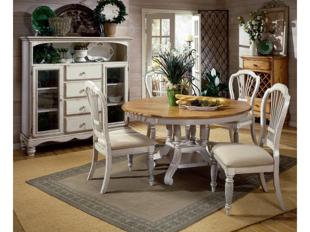 Shown with Round Two-Tone Leaf Dining Table and Tall Sideboard Cabinet
