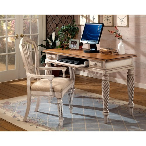 Morris Home Furnishings Wilshire Desk with Vintage White Finish and Keyboard Drawer