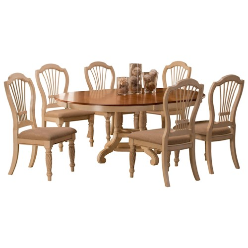 Morris Home Furnishings Wilshire 7-Piece Round Dining Set with Side Chairs