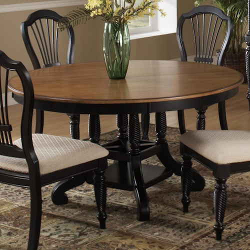 Morris Home Furnishings Wilshire Round Two-Tone Leaf Dining Table