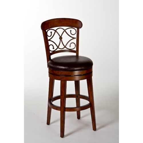 Morris Home Furnishings Wood Stools Bergamo Swivel Bar Stool with Scrollwork