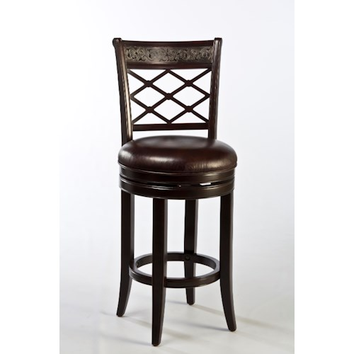 Morris Home Furnishings Wood Stools Spalding Swivel Counter Stool with Etched Pattern