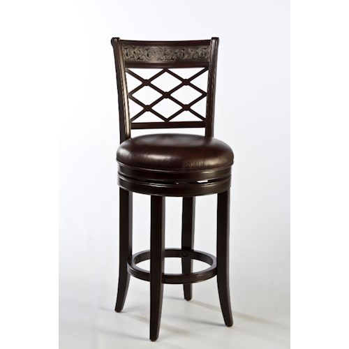 Hillsdale Wood Stools Spalding Swivel Bar Stool with Etched Pattern