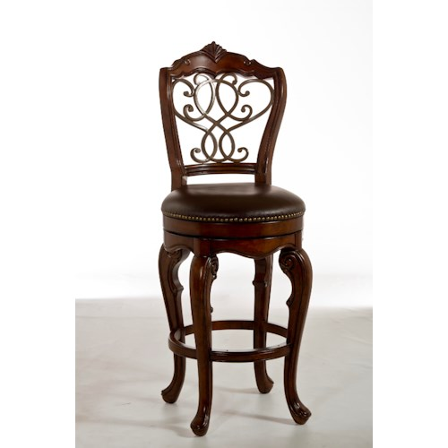 Morris Home Furnishings Wood Stools Burrell Swivel Counter Stool with Scroll Work