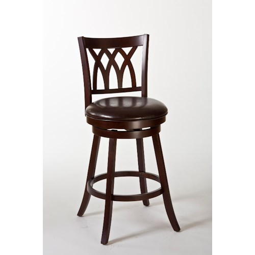 Morris Home Furnishings Wood Stools Tateswood Swivel Counter Stool with Designed Back