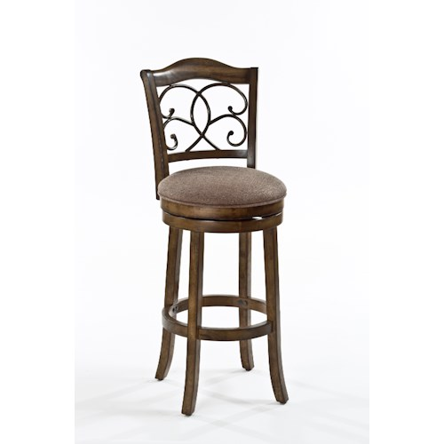 Morris Home Furnishings Wood Stools Metal Swiveling Bar Height Stool with Vine Design