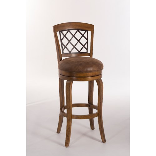 Morris Home Furnishings Wood Stools Swivel Counter Height Stool With Diamond Lattice Back