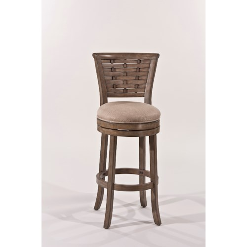 Morris Home Furnishings Wood Stools Wooden Swiveling Bar Height Stool