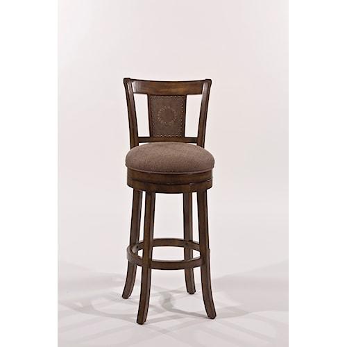 Morris Home Furnishings Wood Stools Upholstered Swivel Height Bar Stool
