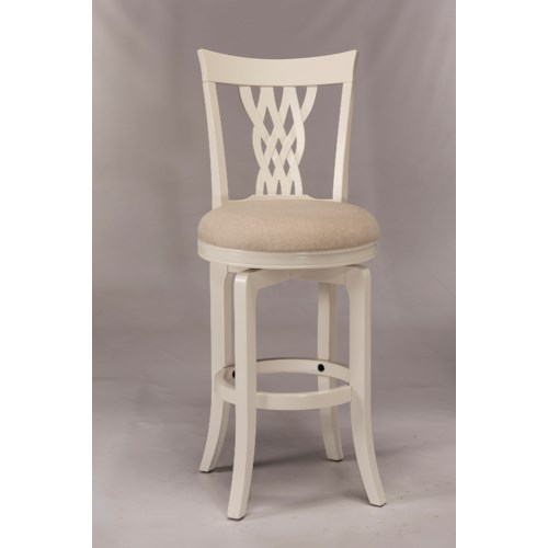 Morris Home Furnishings Wood Stools White Swiveling Counter Stool with Braided Wooden Back