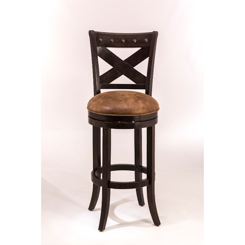 Morris Home Furnishings Wood Stools Swivel Bar Height Stool with X-Backrest