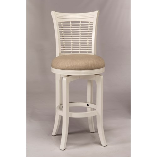 Hillsdale Wood Stools White Swiveling Bar Height Stool with Upholstered Seat