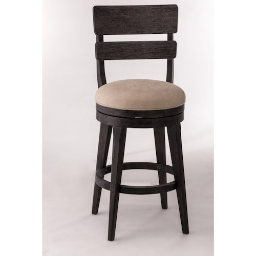 Morris Home Furnishings Wood Stools Upholstered Swivel Bar Stool