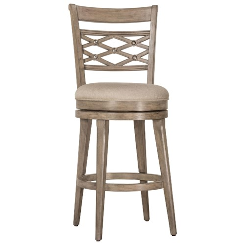 Morris Home Furnishings Wood Stools Upholstered Swivel Counter Stool