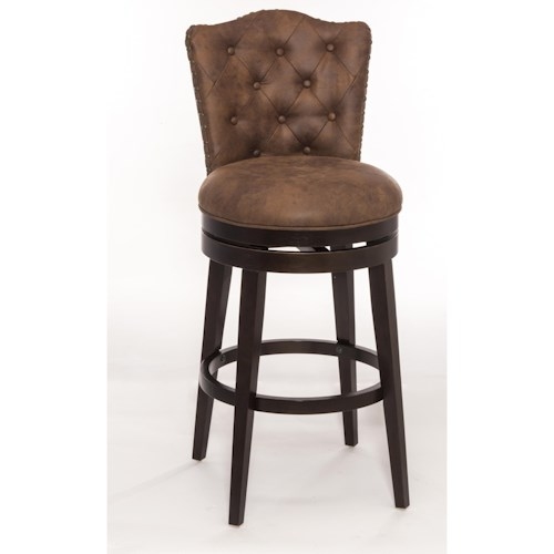 Morris Home Furnishings Wood Stools Swivel Bar Stool with Upholstered Seat
