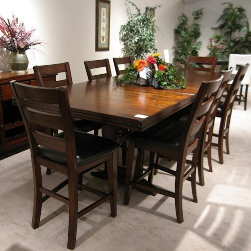 Morris Home Furnishings Coventry Double Trestle Pub Table with 2 Removable 18 Inch Leaves