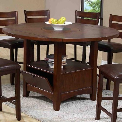 Morris Home Furnishings Dublin Round Table with Lazy Susan