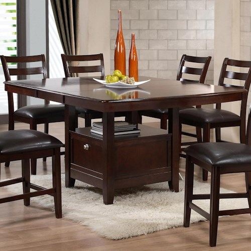 Holland House 1965 Dining Contemporary Pub Table with Storage Base and One Table Leaf