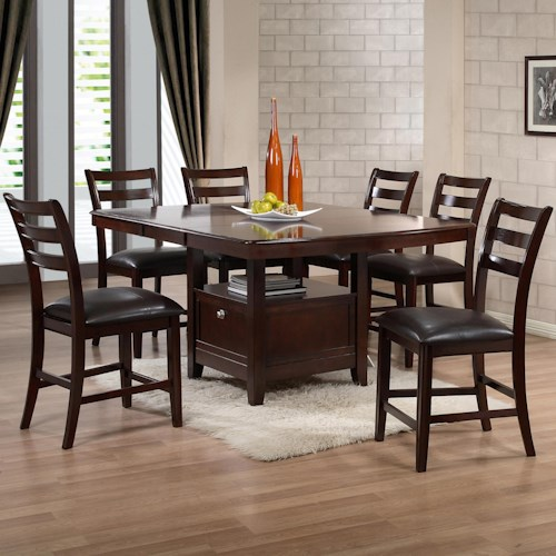 Holland House 1965 Dining Contemporary Seven Piece Pub Dining Set with Wine Storage