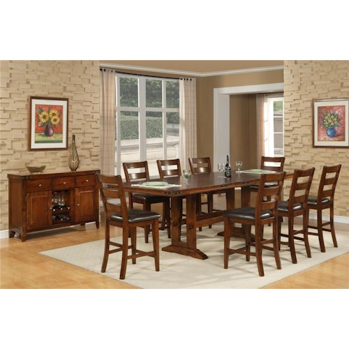 Morris Home Furnishings Coventry 5 Piece Pub Dining Room Set Includes 4 Pub Barstools.