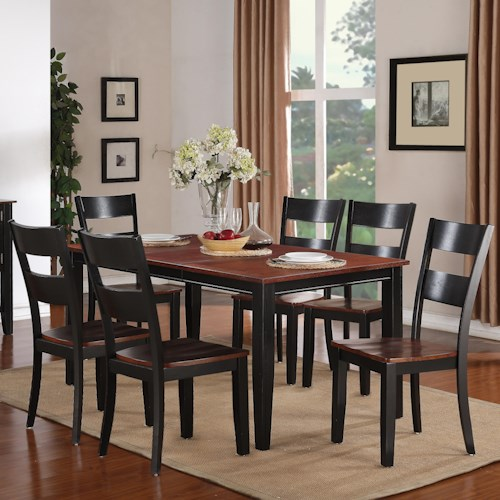 Holland House 8202 7 Piece Dining Set with Rectangular Leg Table