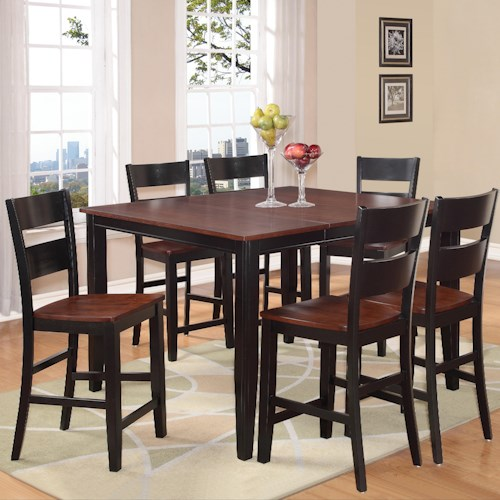 Holland House 8202 7 Piece Counter Height Dining Set with Square Table