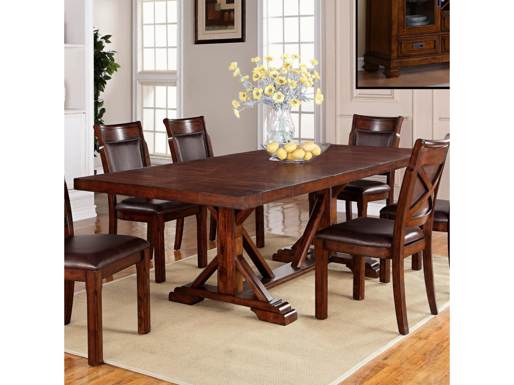 Holland House Adirondack Trestle Dining Table with Two Leaves