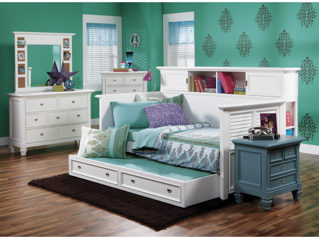 Trundle Not Included. Shown with Dresser, Mirror, Chest and Nightstand