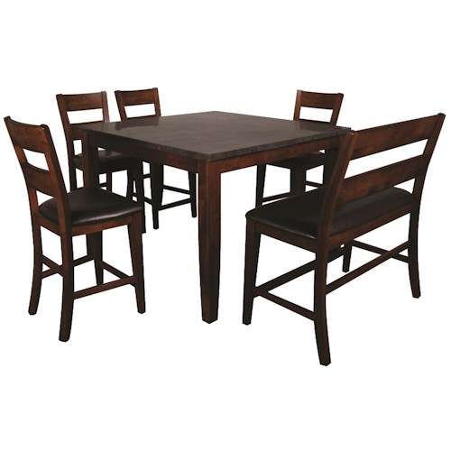 Morris Home Furnishings Melbourne 6-Piece Pub Set with Blue Stone Top