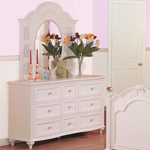 Morris Home Furnishings Loveland Drawer Dresser w/ Oval Mirror