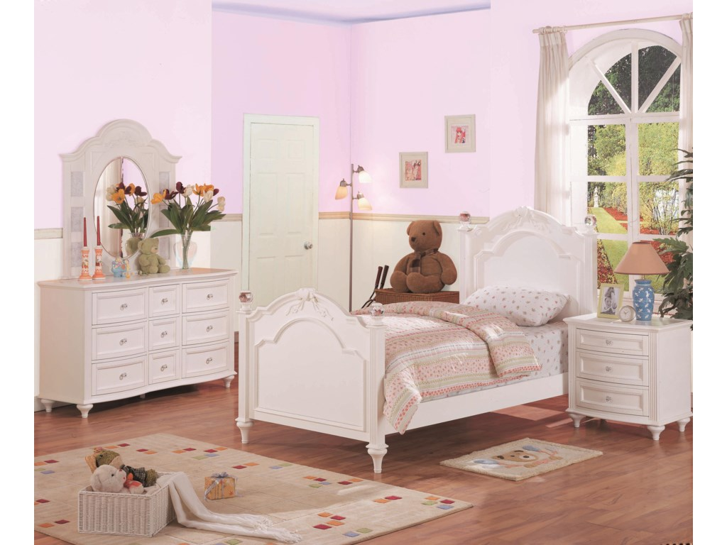 Shown in Room Setting with Dresser, Mirror and Bed