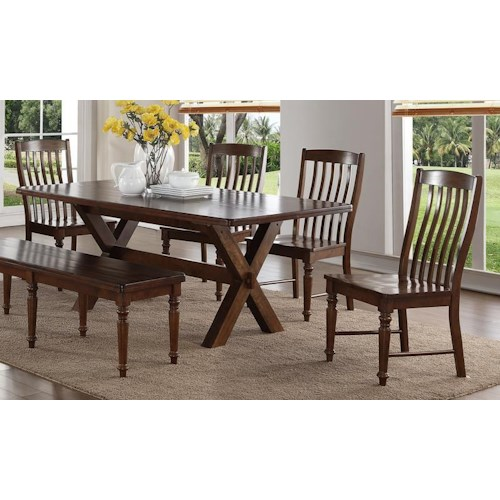 Morris Home Furnishings Creston 5-Piece Dining Set with 4 Side Chairs