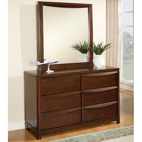 Morris Home Furnishings Granada 6 Drawer Dresser & Wood Framed Mirror Set