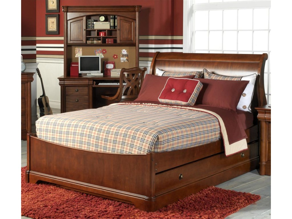 Holland House Luis Cherry Full Size Sleigh Bed with Trundle
