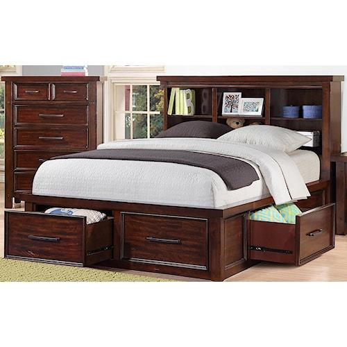 Morris Home Furnishings Sorrento 2688 Full Bookcase Storage Bed